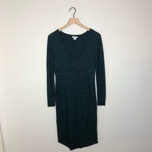 Bar III Heathered Green V Neck Long Sleeve Dress